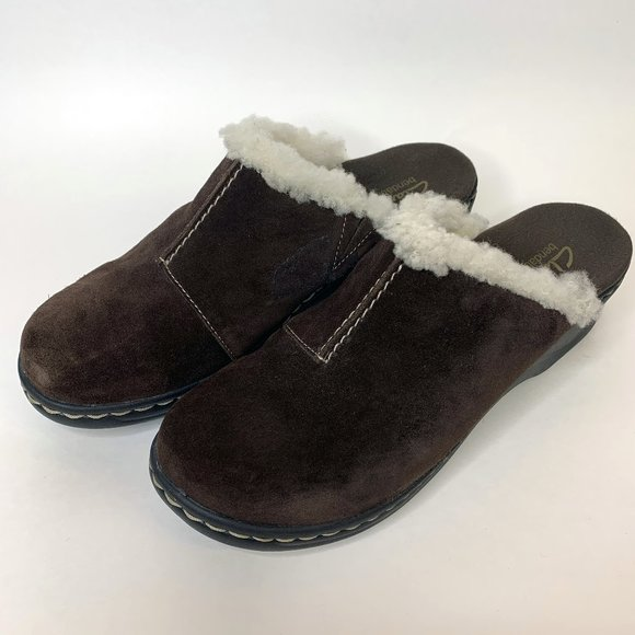Clarks Shoes - Clarks Shoes Clogs Leather Suede Fur Brown 8.5